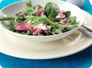 lamb leg steak salad with roquefort